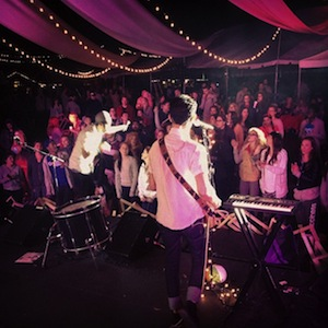 Musician and MA Theology grad Andy Figueroa playing with his band in Los Angeles-300x300