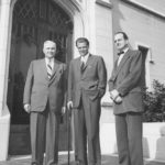 Charles E. Fuller, trustee Billy Graham, and Edward John Carnell in front of Payton Hall