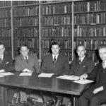 Fuller's founding faculty (left to right): Harold John Ockenga, Wilbur M. Smith, Carl F. H. Henry, Harold Lindsell, Everett Harrison