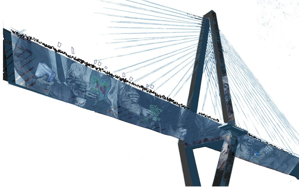 a blue bridge illustration