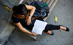 Female Studying on bench