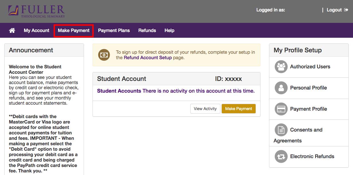 Student Account Center
