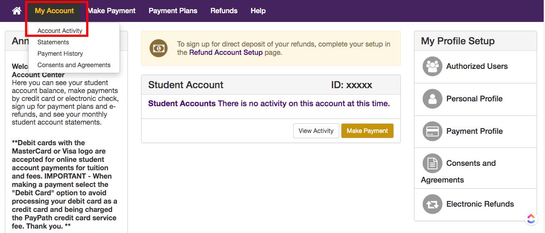 Student Account Center_Activity History