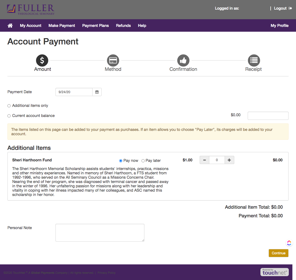 make a payment screen