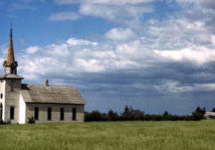 A rural church near Junction City, Kansas, in the early 1940s.